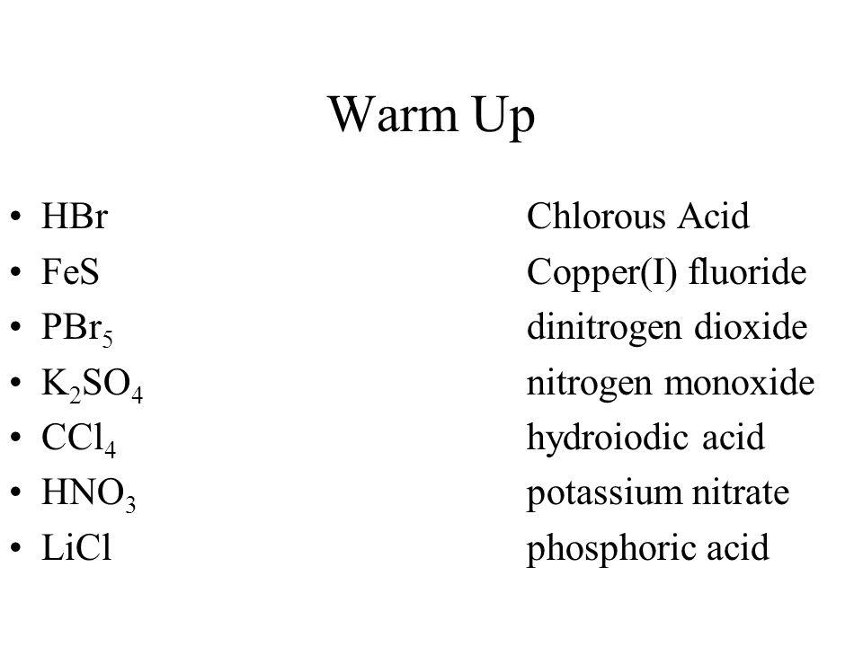Warm Up HBr Chlorous Acid FeS Copper(I) fluoride