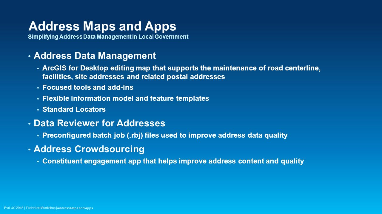 Address Maps and Apps Address Data Management