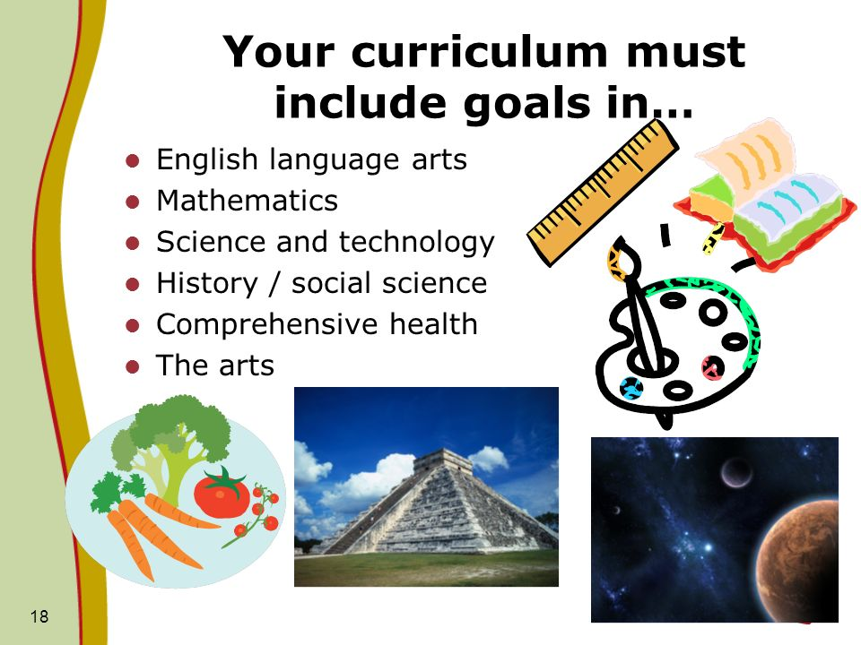 Your curriculum must include goals in…