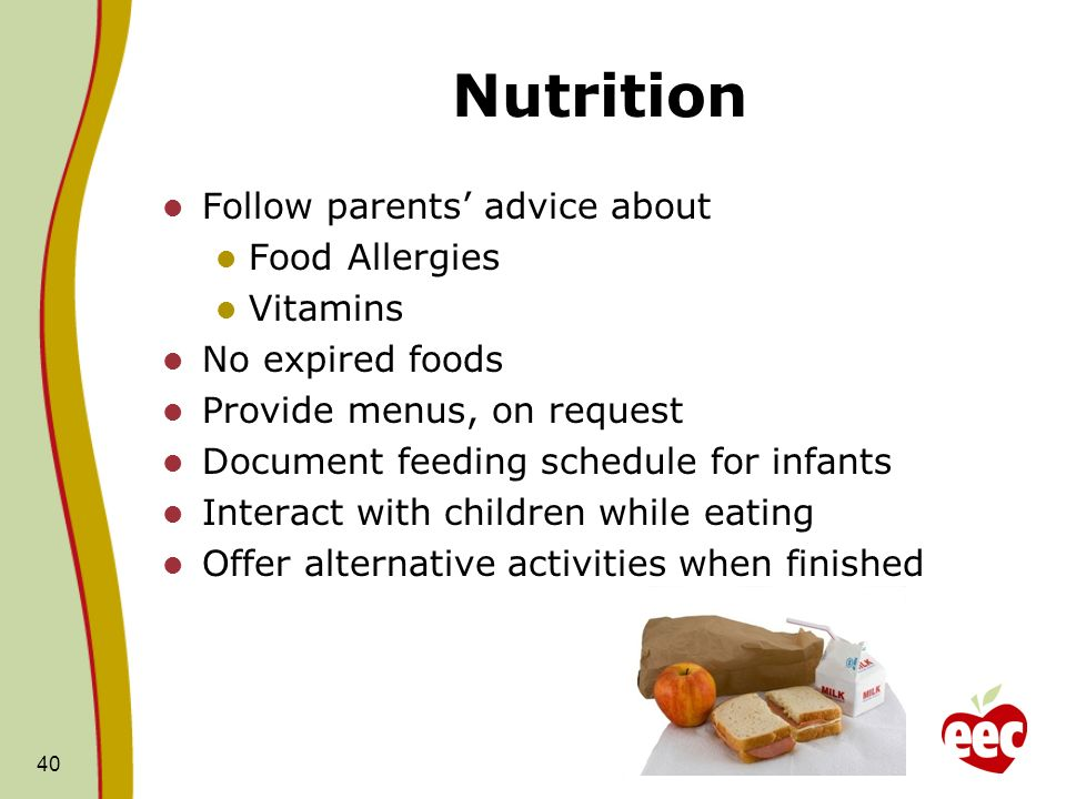 Nutrition Follow parents' advice about Food Allergies Vitamins