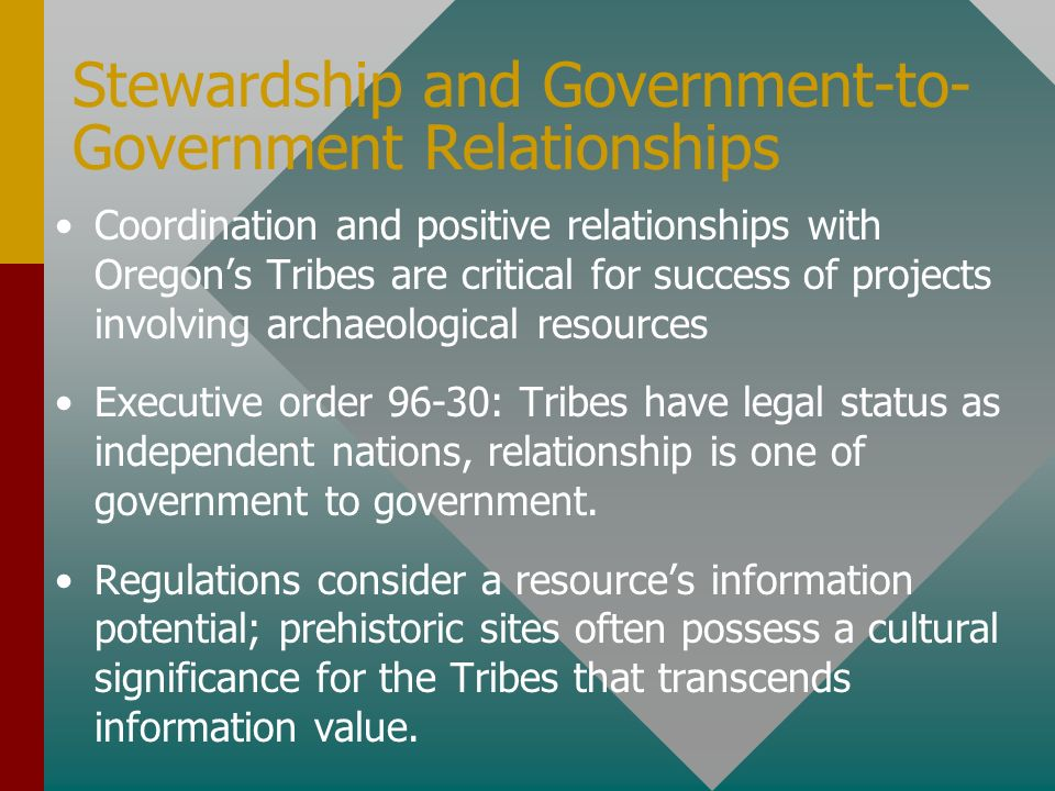 Stewardship and Government-to-Government Relationships