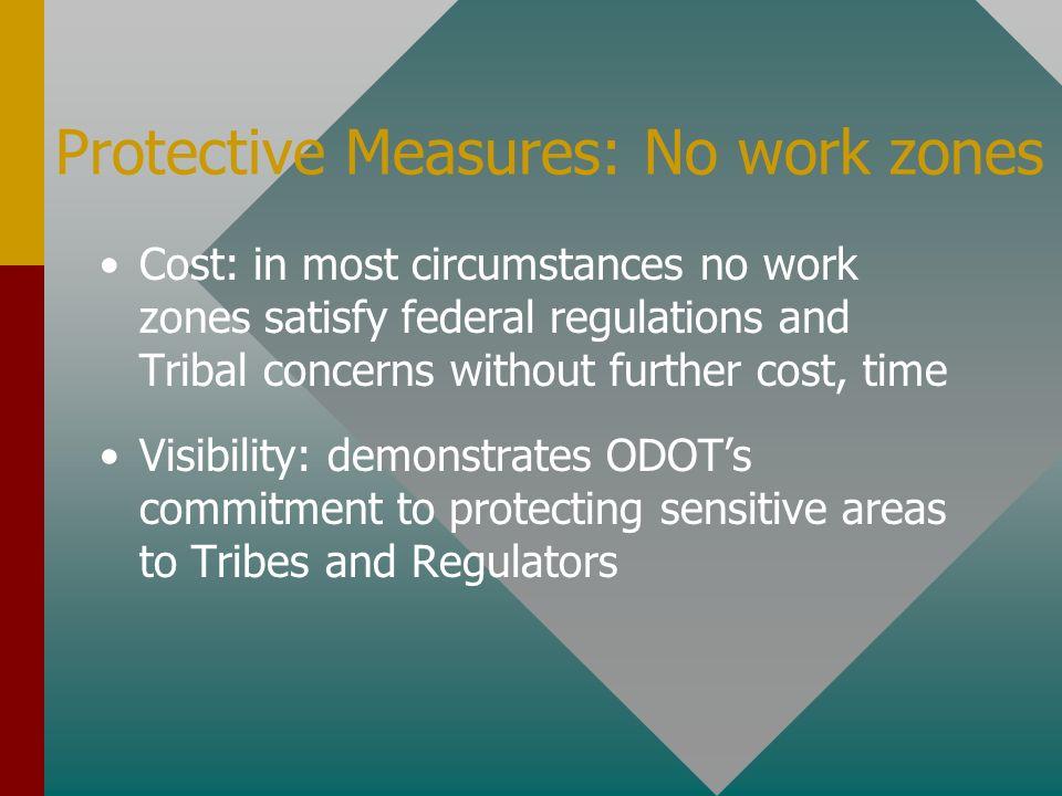 Protective Measures: No work zones