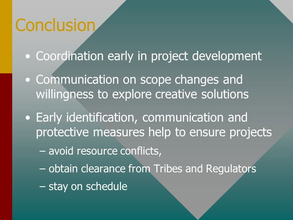 Conclusion Coordination early in project development