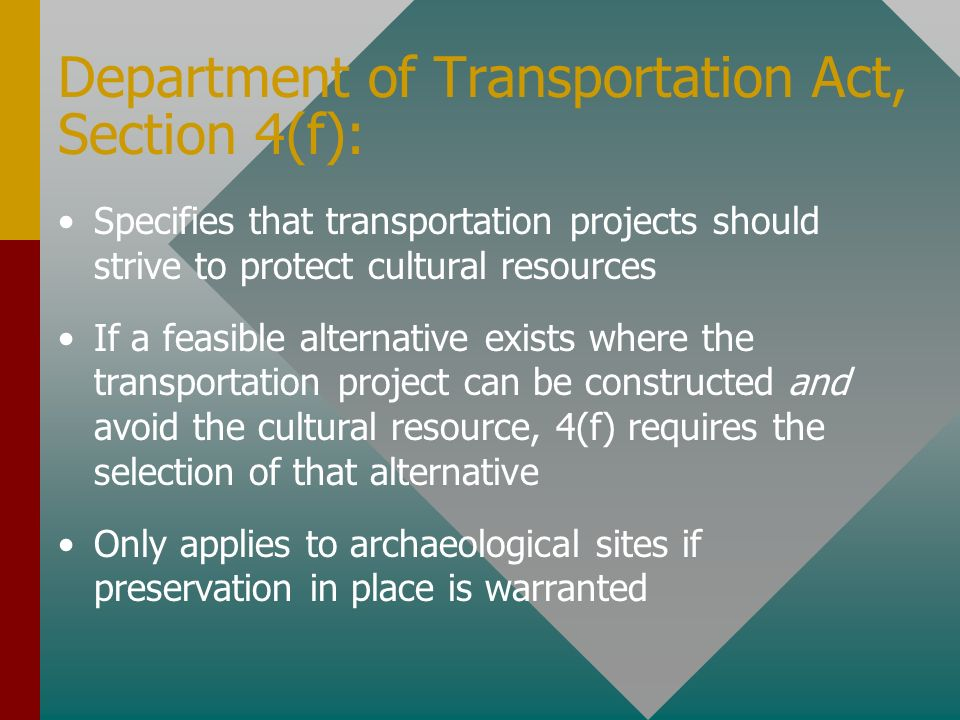 Department of Transportation Act, Section 4(f):