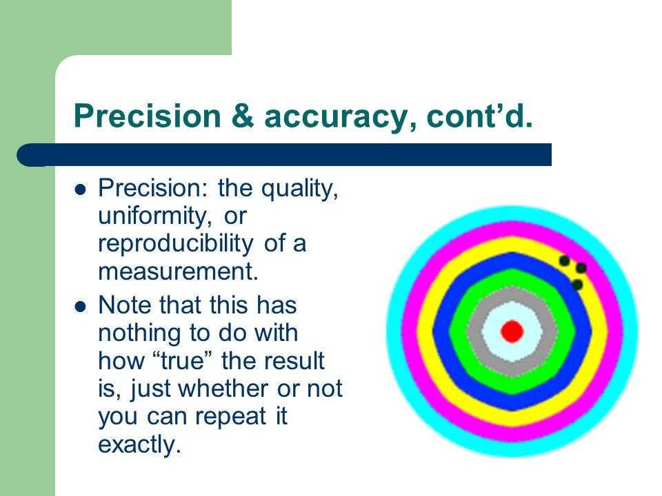 Precision & accuracy, cont'd.