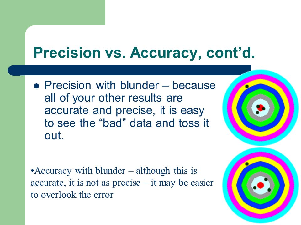 Precision vs. Accuracy, cont'd.