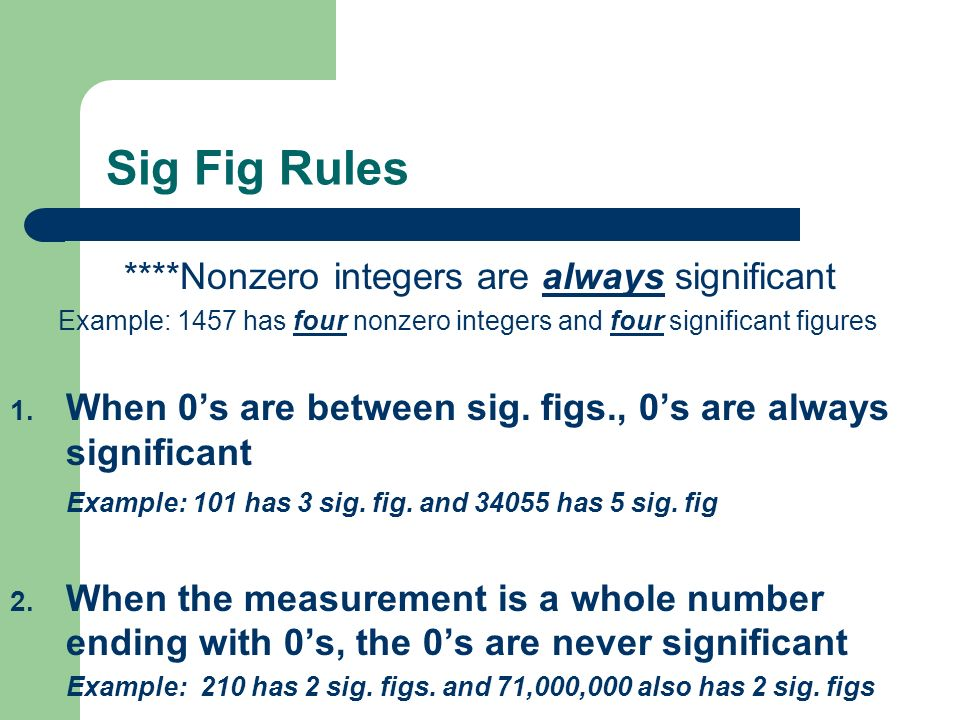 ****Nonzero integers are always significant