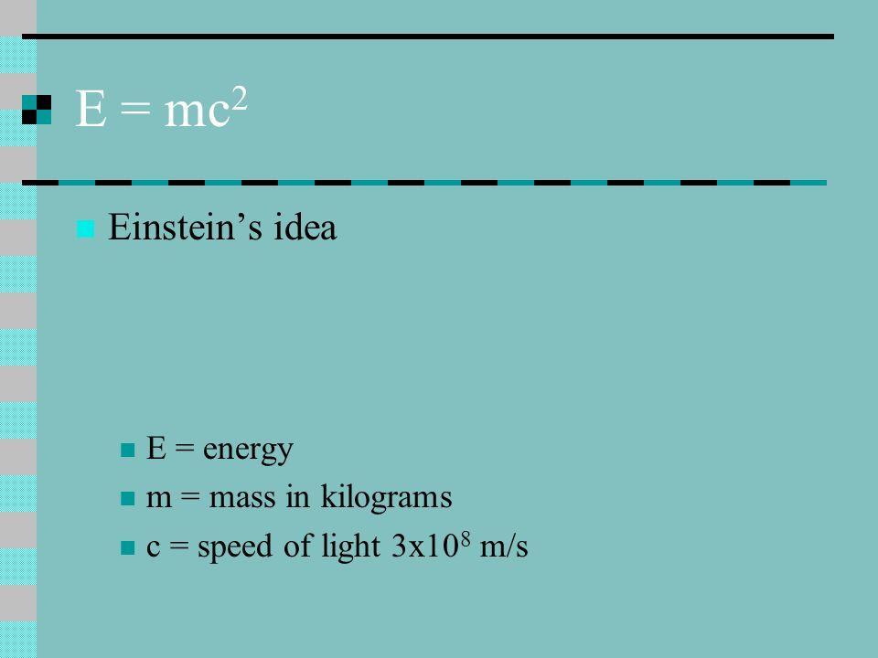 E = mc2 Einstein's idea E = energy m = mass in kilograms