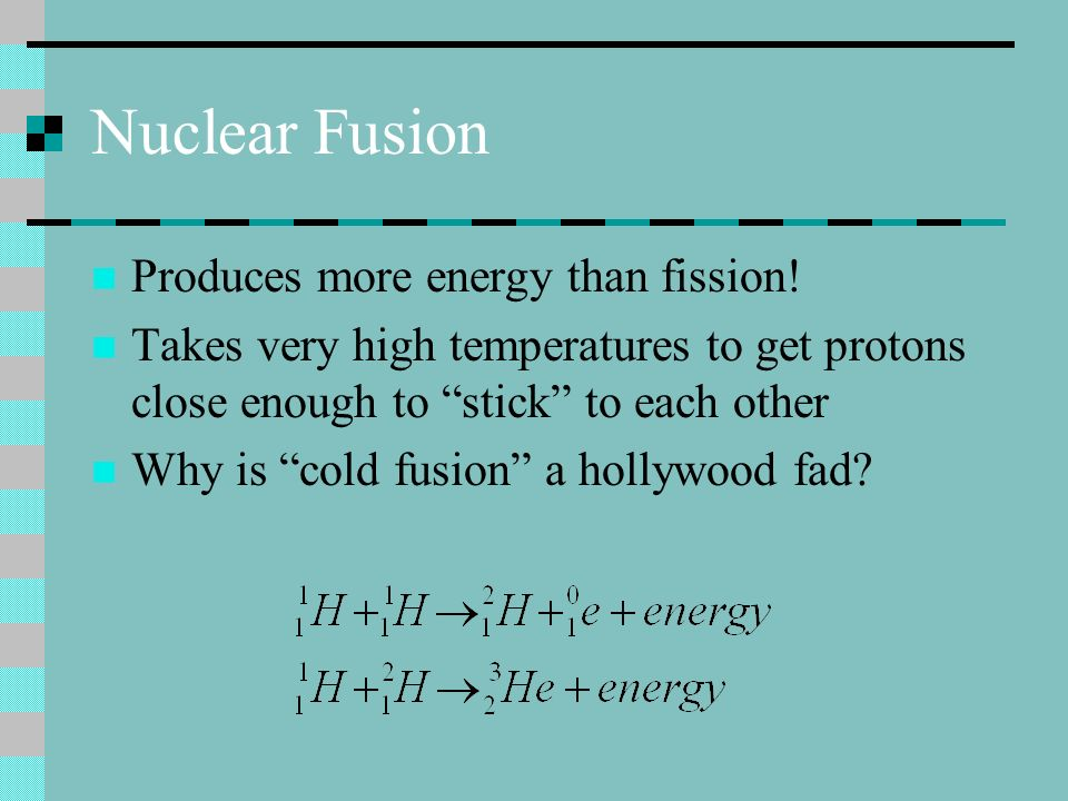 Nuclear Fusion Produces more energy than fission!