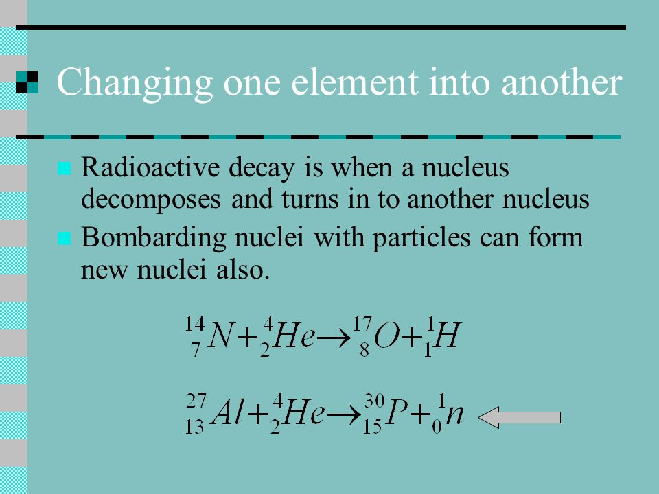 Changing one element into another