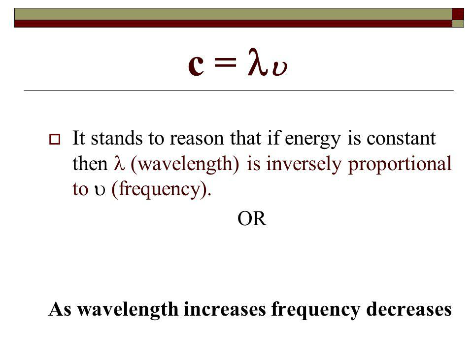 c =  It stands to reason that if energy is constant then  (wavelength) is inversely proportional to  (frequency).