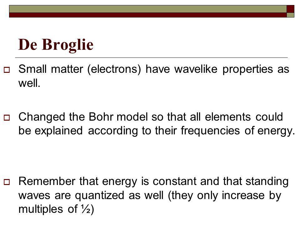 De Broglie Small matter (electrons) have wavelike properties as well.