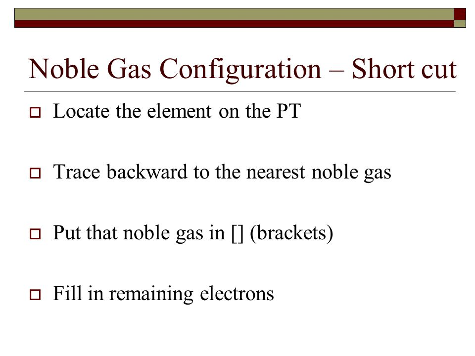 Noble Gas Configuration – Short cut