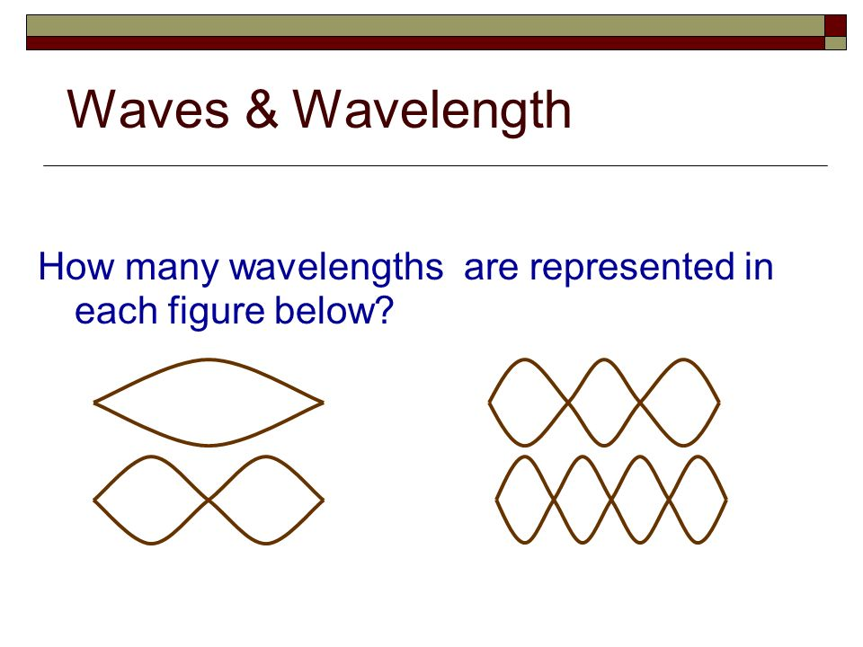 Waves & Wavelength How many wavelengths are represented in each figure below