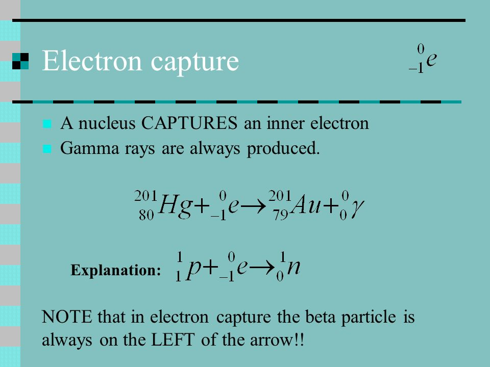 Electron capture A nucleus CAPTURES an inner electron