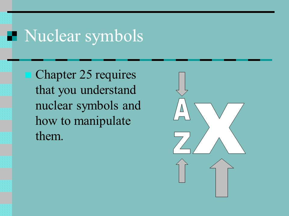 Nuclear symbols Chapter 25 requires that you understand nuclear symbols and how to manipulate them.