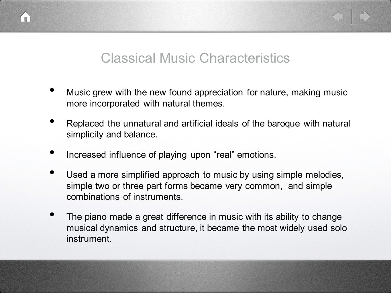 Influence of Baroque Music to Classical Music