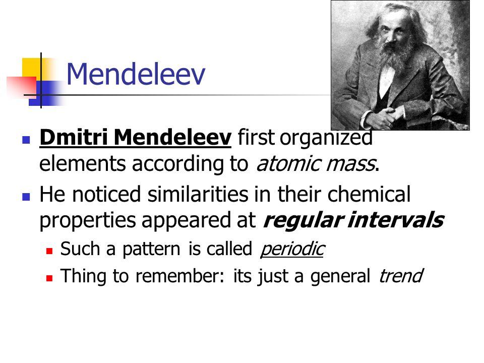 Mendeleev Dmitri Mendeleev first organized elements according to atomic mass.