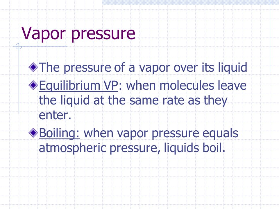 Vapor pressure The pressure of a vapor over its liquid
