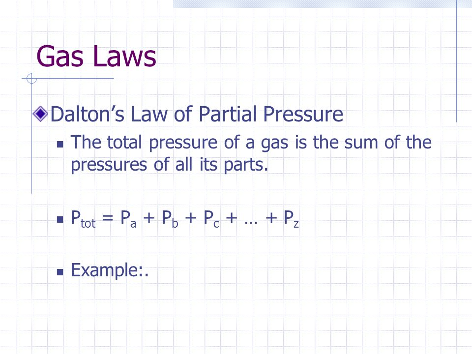 Gas Laws Dalton's Law of Partial Pressure