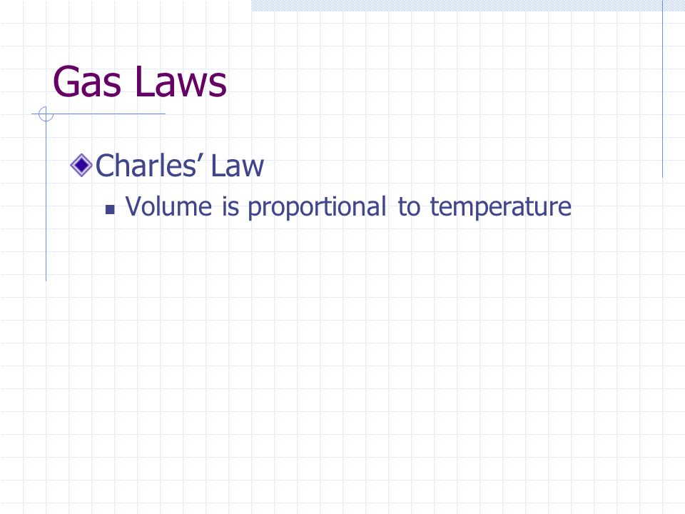 Gas Laws Charles' Law Volume is proportional to temperature