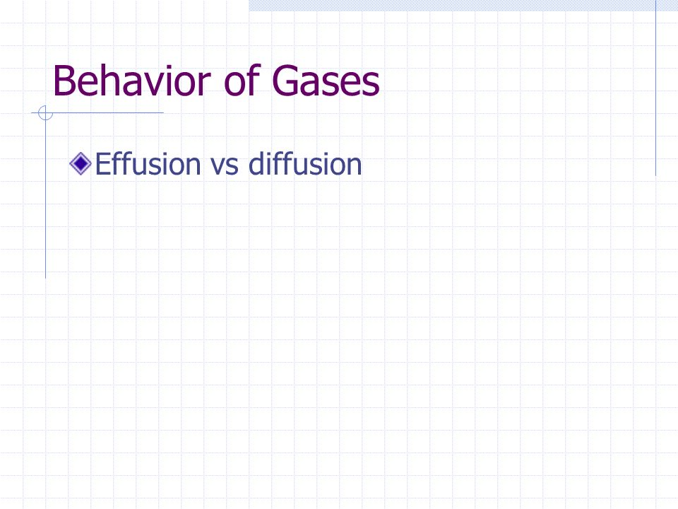 Behavior of Gases Effusion vs diffusion