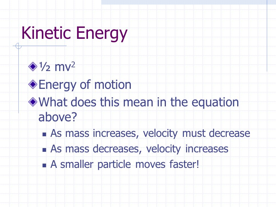 Kinetic Energy ½ mv2 Energy of motion