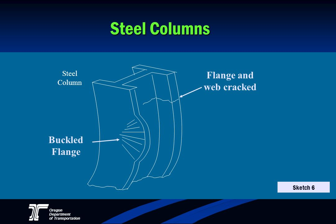 Steel Columns Flange and web cracked Buckled Flange Steel Column