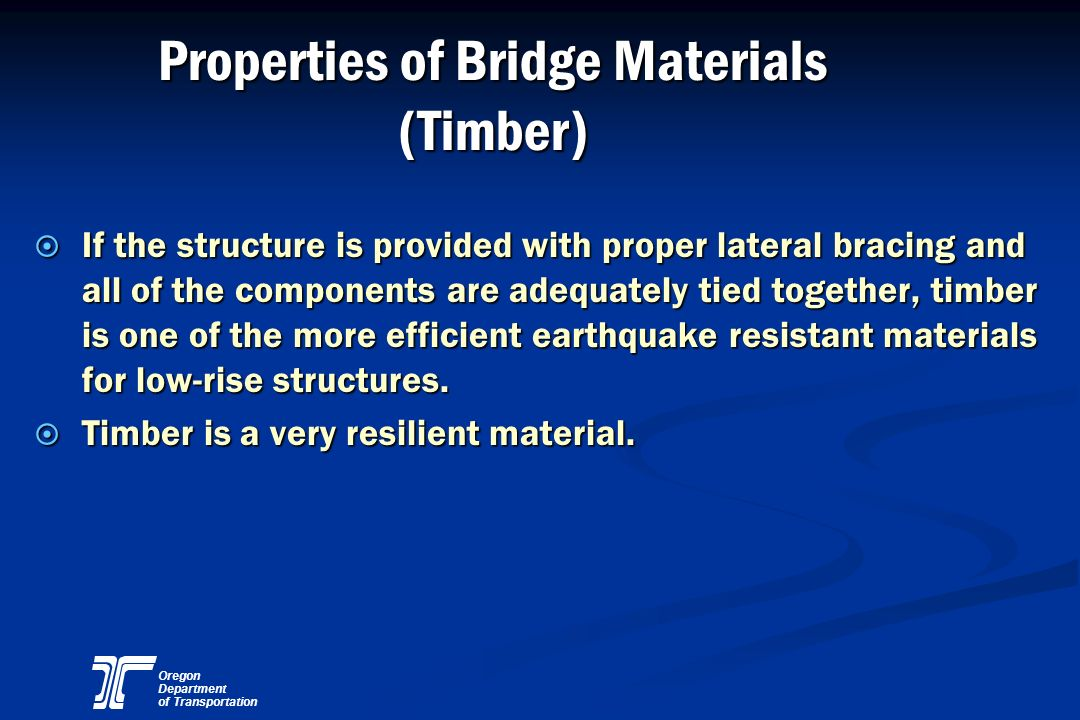 Properties of Bridge Materials (Timber)