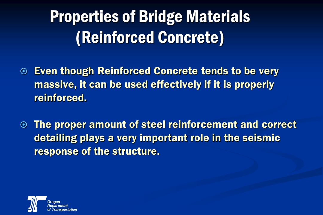 Properties of Bridge Materials (Reinforced Concrete)