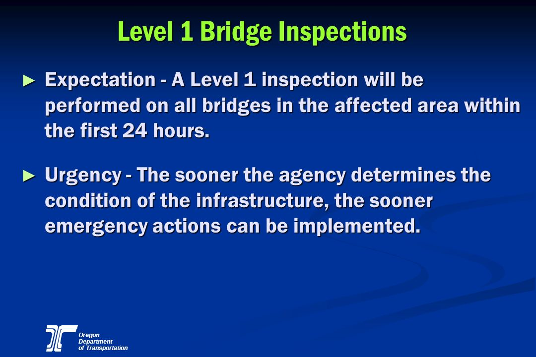 Level 1 Bridge Inspections