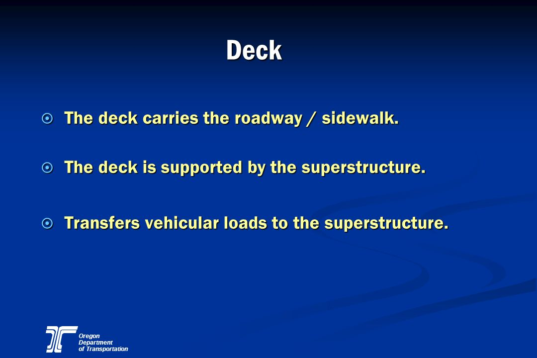 Deck The deck carries the roadway / sidewalk.