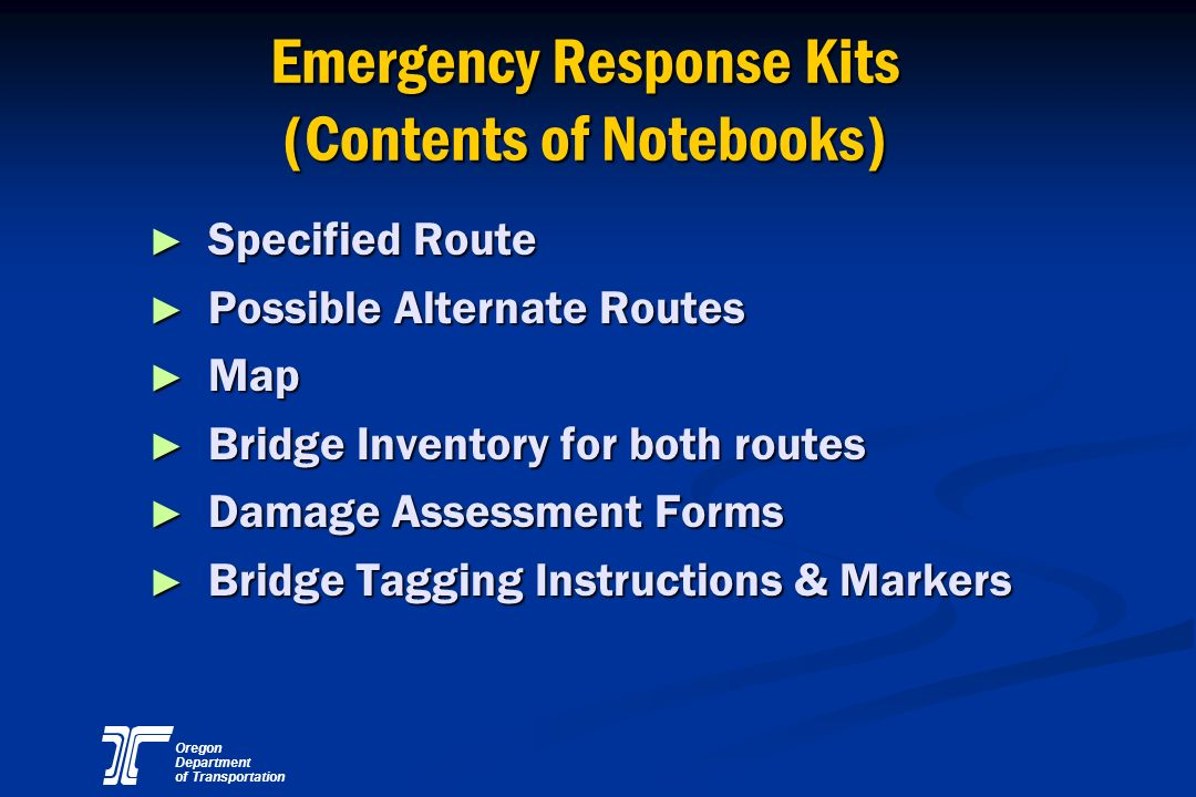 Emergency Response Kits (Contents of Notebooks)