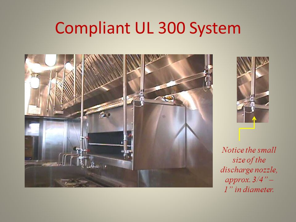 Compliant UL 300 System Notice the small size of the discharge nozzle, approx.