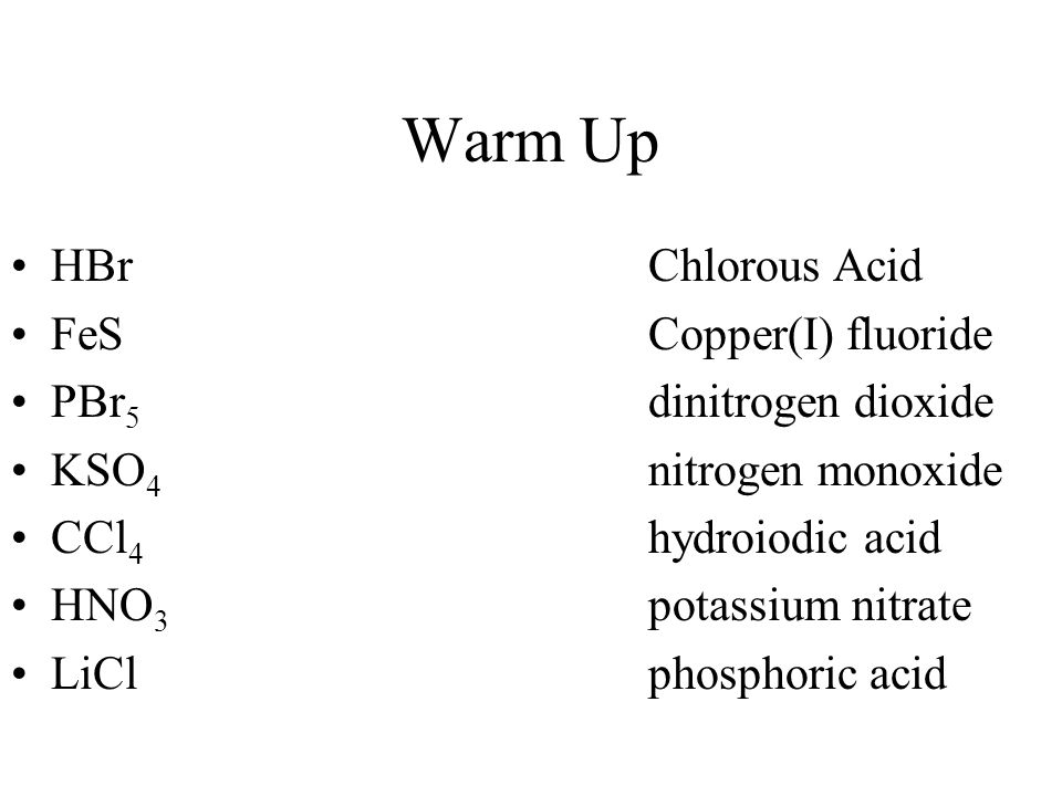 Warm Up HBr Chlorous Acid FeS Copper(I) fluoride