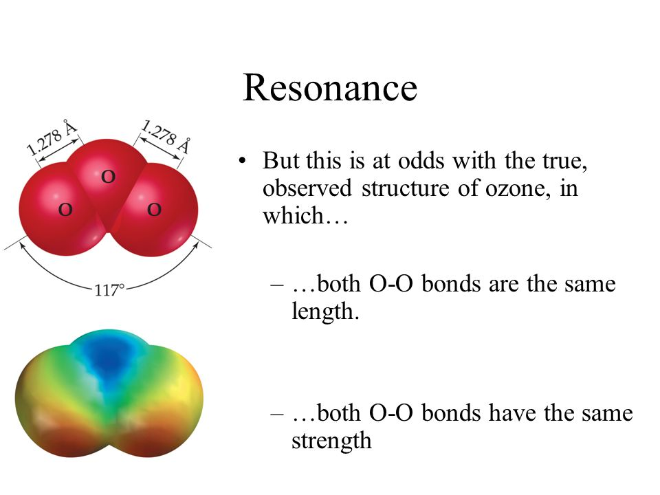 Resonance But this is at odds with the true, observed structure of ozone, in which… …both O-O bonds are the same length.