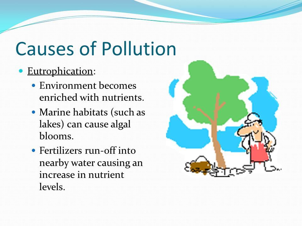 causes of water pollution Water pollution occurs when contaminants infiltrate a body of water such as a lake, river, or ocean and hurt the quality of that water a small amount of a contaminant may have little effect on a large body of clean water, but if there is a huge amount poured in or a small amount added each day over a long period of time, then it can become a.