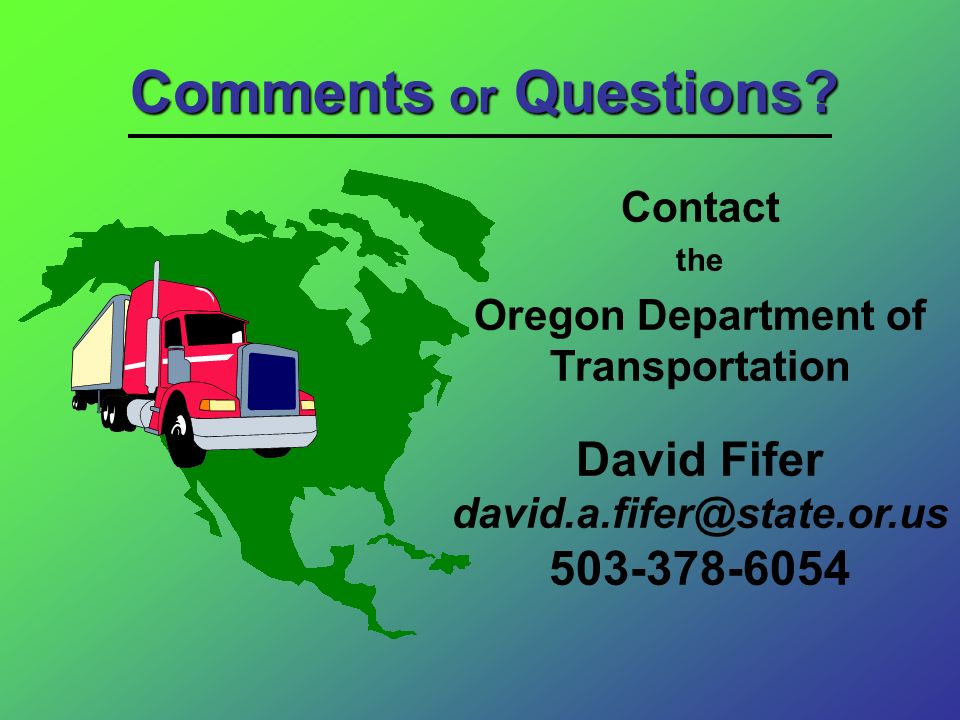 David Fifer david.a.fifer@state.or.us 503-378-6054