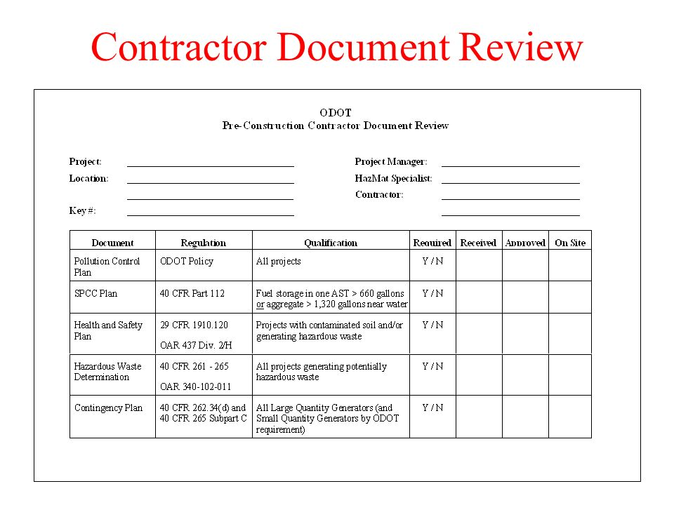 Contractor Document Review