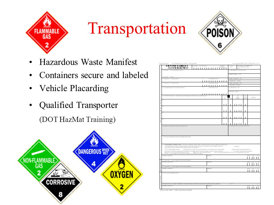 Transportation Hazardous Waste Manifest Containers secure and labeled