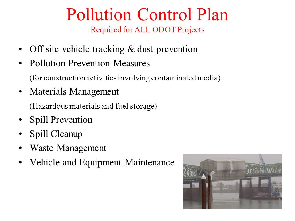 Pollution Control Plan Required for ALL ODOT Projects