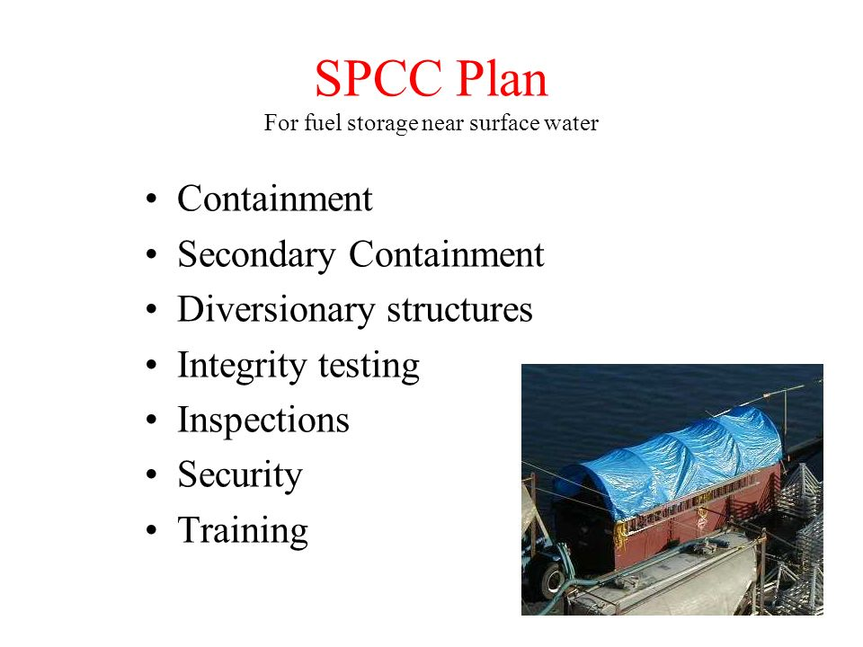 SPCC Plan For fuel storage near surface water