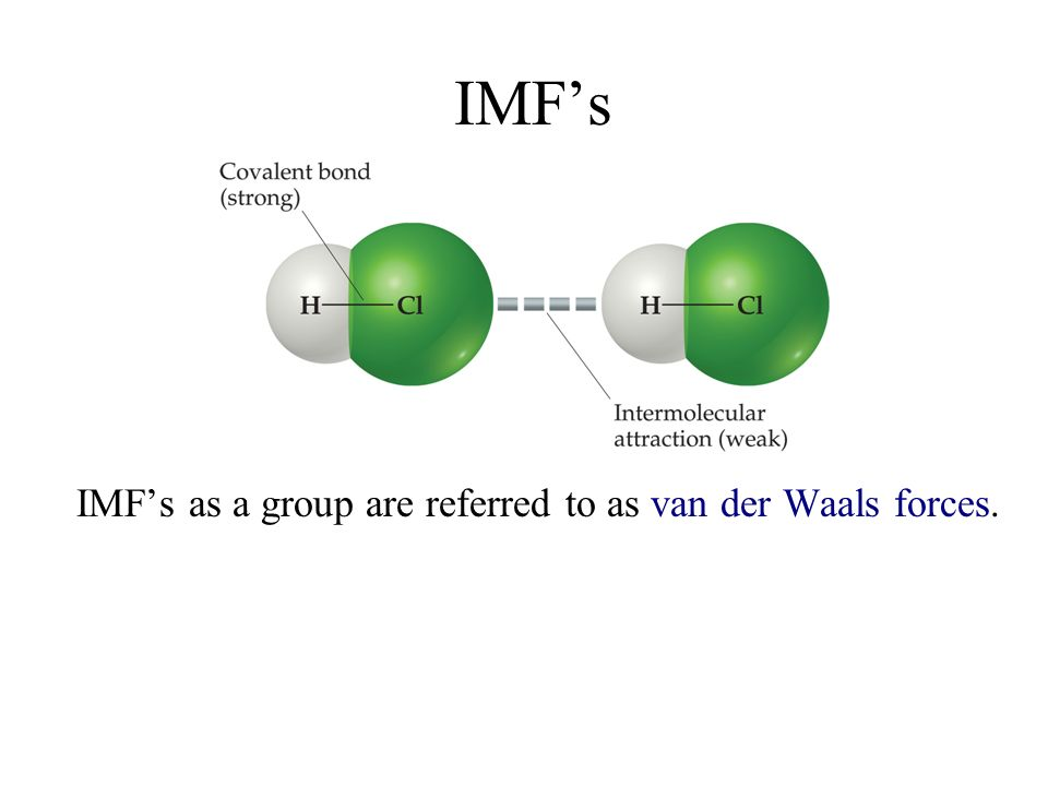 IMF's IMF's as a group are referred to as van der Waals forces.