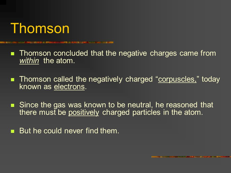 ThomsonThomson concluded that the negative charges came from within the atom.