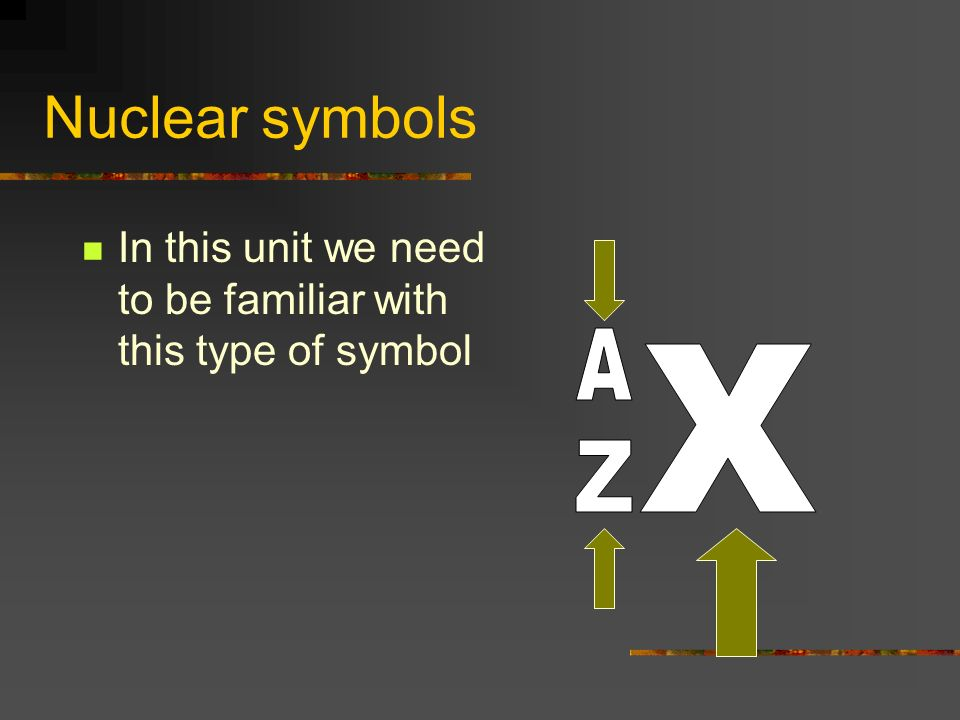 Nuclear symbols In this unit we need to be familiar with this type of symbol A X Z