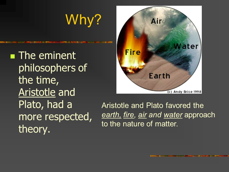 Why The eminent philosophers of the time, Aristotle and Plato, had a more respected, theory.