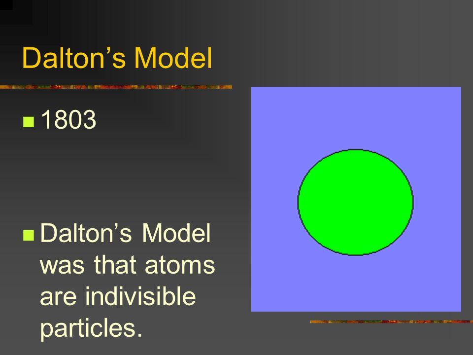 Dalton's Model 1803 Dalton's Model was that atoms are indivisible particles.