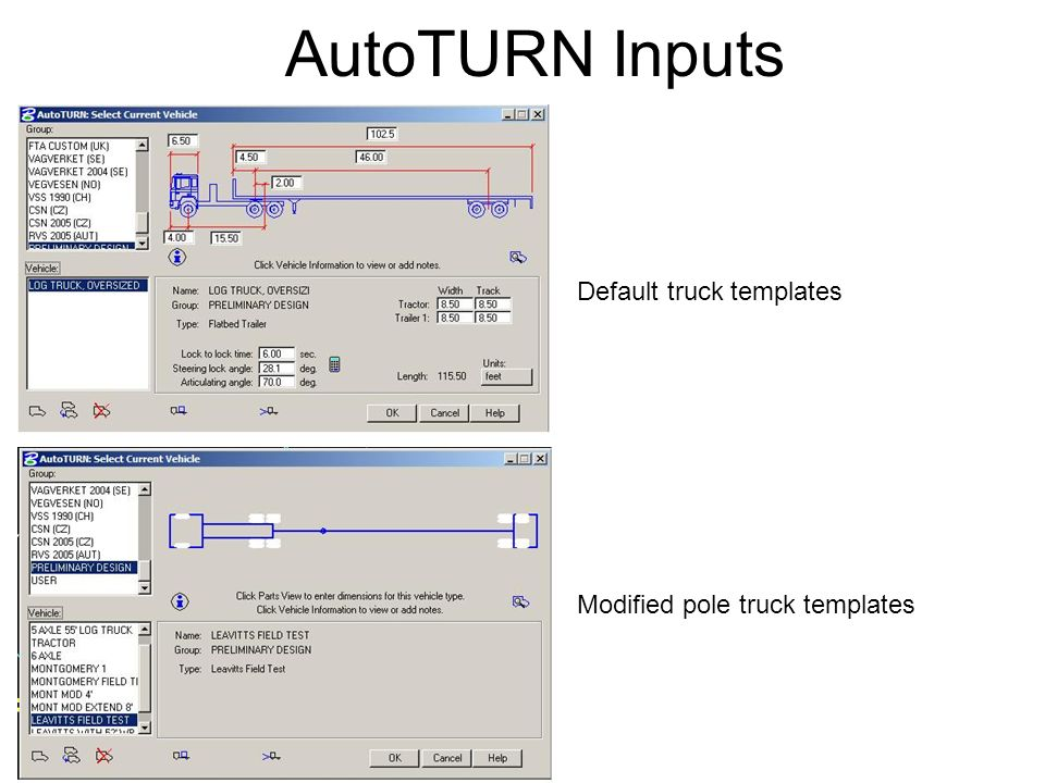 AutoTURN Inputs Default truck templates Modified pole truck templates