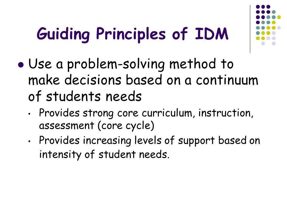 Guiding Principles of IDM