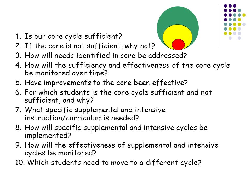 Framework Questions 1. Is our core cycle sufficient